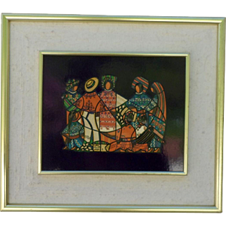 "David Ordonez (born 1951) ""Ixiles Quiche, Guatemala"" Mixed media, lithography and enamels."