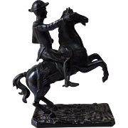 French 19th Century bronze cavalier on white marble plinth