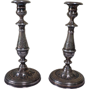 Sterling Silver candlesticks. Late 18th Century French