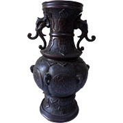 Chinese Bronze Vase circa 1900 with Elephant Handles