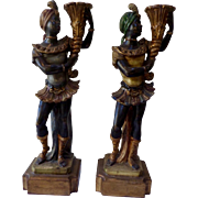 Nubian Torchbearers Wooden Sculptures French 19th Century