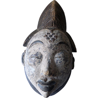 African Ritual Mask, Punu People, Gabon, Central West Africa 19th/20th Century