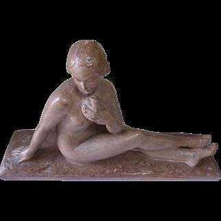 Art Deco Patinated Terracotta Sculpture Henri Bargas France circa 1930