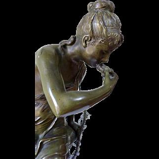 """Art Nouveau Bronze Sculpture Lucie SIGNORET-LEDIEU (1858-1904) """"Diana at the Spring"""""""