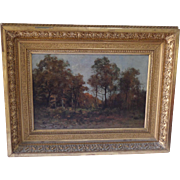 """Charles Hippolyte DESMARQUAIS (1823-1910) """"The Clearing"""" Oil Painting on wood panel 1884"""