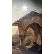 """""""Pilgrims at a Mountain Chapel on the Road to St Jacques"""" Oil on Canvas French 19th century"""