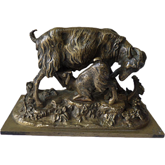 Bronze Sculpture of Sheep suckling its lamb 19th Century French