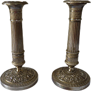 Pair of Gilt Bronze Candlesticks French Restoration (1815-1830)