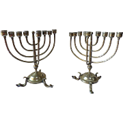 Pair of 9 Branch Brass Menorah