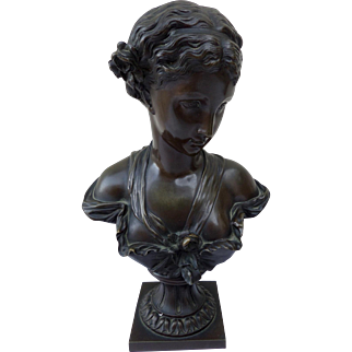 Bronze Bust of a Young Woman with Bodice of Flowers French School 19th Century