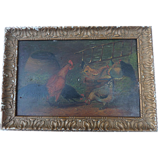 """Dapoui, Claude """"Chickens"""" Oil on board. French 19th Century."""