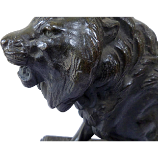 "BARYE ""Lion walking"" Bronze XIX Century"