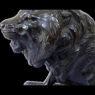 "BARYE ""Lion walking"" Bronze XIX Century"