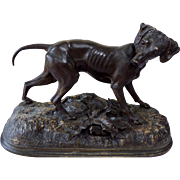 """Jules Moignez  (1835-1894) """"Hunting Dog""""  19th Century French Bronze Sculpture."""