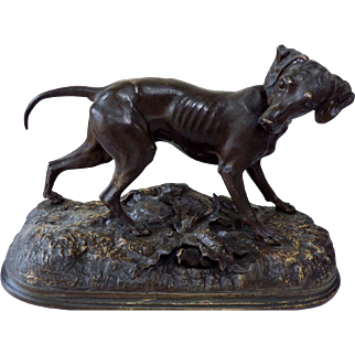 "Jules Moignez  (1835-1894) ""Hunting Dog""  19th Century French Bronze Sculpture."