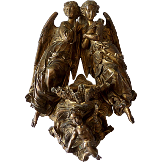 Benitier in gilt bronze. France XIX Century