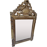 Gilt Wood Mirror with Ornate Pediment Style Louis XVI