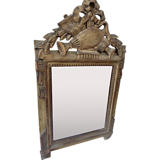 Gilt Wood Mirror with Ornate Pediment Style Louis XVI