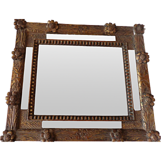 18th century gilded French Mirror with letter on the reverse.