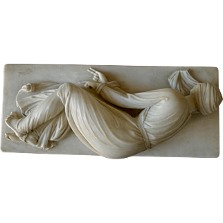 """Saint Cecile"" Alabaster sculpture. After Stefano Moderno"
