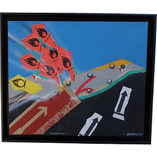 """Feuervogel"" Peter Klasen (1935) Acrylic and collage on canvas. 1994."