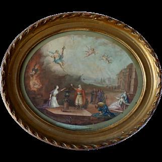 Biblical Scene. Italian XIX Century Painting on Silk