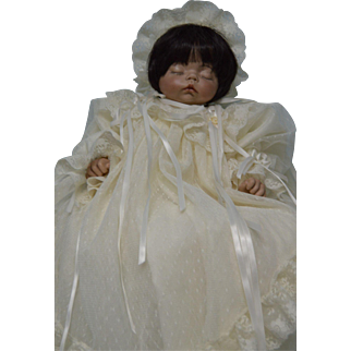 Porcelain 19 inch Sleep Baby in Christening Gown