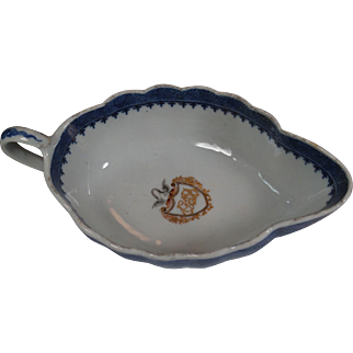 Chinese Armorial Porcelain Sauceboat GEORGE BLATCHFORD EIC Captain Maritime 1787