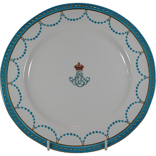 Minton Armorial Porcelain Prince Edward & Alexandria Royal Plate PRINCE WALES KING EDWARD VII OF GREAT BRITAIN and her dominions, EMPEROR OF INDIA.