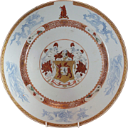 1720 Chinese Armorial Charger Lutwyche Bagnall Export Porcelain Plate 康熙 家徽的 瓷