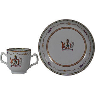 Chinese Armorial Porcelain Chocolate Cup Saucer MACGREGOR CLAN Family Coat Arms