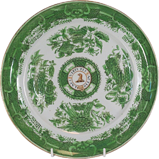 Chinese Armorial Porcelain Plate RAWSON Family Coat Arms Crest Fitzhugh Pattern.