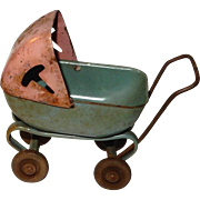 c.1930 Metal Miniature Dollhouse Baby Buggy : Baby not included