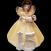 "c. 1950 Josef Original Birthday Girl in Yellow,  FIFTEEN Birthday, 6"" tall"