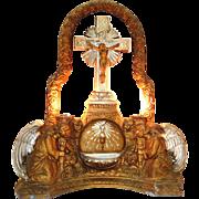 1890s Catholic Shrine; Illuminated Crucifixion; Jesus on Cross; Church Chalice; Host Communion