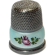 Sterling Silver and Enamel Thimble:  Pink Roses & green leaves: Marked 925 : M marking