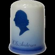"Fine China Thimble: Blue & White: Blue Delph Denmark:  ""H.C. Anderson"""