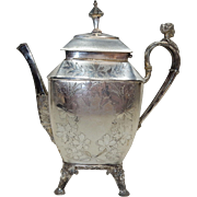 Meriden Silverplated  Tea: Coffee Pot With Classical Figurea on  handles and feet