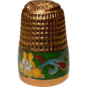 Vintage Thimble; Cloisonne: Brass: Blue enamel on inside