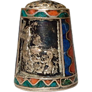 Vintage Thimble; Cloisonne and silver, marked 950