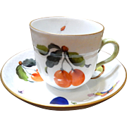 Market Garden  Herend Demi-Tasse cup & Saucer Hand-Painted with Fruits, Veggies, insects