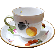 """Herend"" # 2:  Demi-Tasse & Cup & Saucer Hand-Painted with fruits, veggies, and insects"