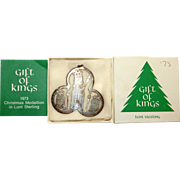 "1973 Lunt Sterling Silver ""Thee Kings"" Christmas Ornament in original Box"