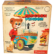 Vintage Battery Operated POPCORN VENDOR, original box, tested and in good working order, Cragstan tin toy: c.1950