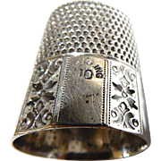 "Sterling Silver Thimble, ""S"" mark  in base, name on one panel; size 10"