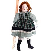"""26"""" artist cloth over porcelain Jessie Bishop toddler Doll """"HEATHER"""" Judy Rankine 1996"""