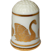 Hand painted Gold Swan & Butterfly Porcelain Thimble