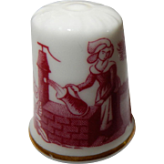 Spode Porcelain Red and White Country Scene thimble