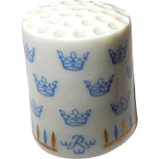 Vintage Porcelain RORSTRAND Thimble Blue Crowns Made in Sweden, Advertiser