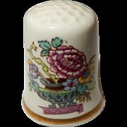 Mason's England Thimble; Basket of Flowers